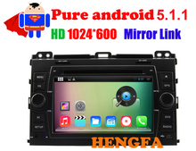 Pure Android 5.1 Car DVD Player 1024*600  For Toyota Landcruiser prado 120 2003-2009 with JBL with Radio BT RDS Video GPS Navi