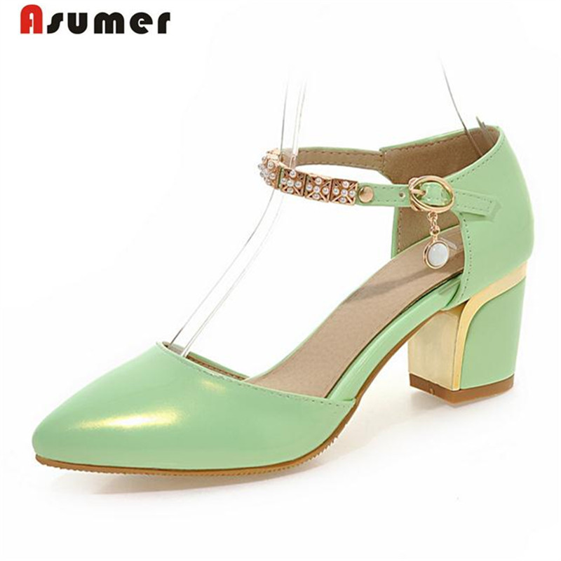 Asumer 2017 New arrive women pumps pointed toe buckle high heels shoes big size 33-43 summer shoes party elegant sweet <br>