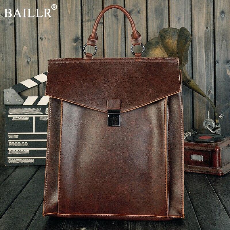 Brand Designer Men PU Leather Backpack 2018 New Fashion Vintage Daypack Casual Simple design Men Rucksack Vintage Handmade Tote<br>