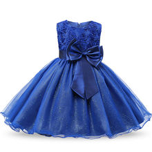 Baptism Princess Girls O-neck Dresses Summer 2017 Sequined Floral Children Ball Gown Party Clothing Toddler Girl Tutu Kids Dress(China)