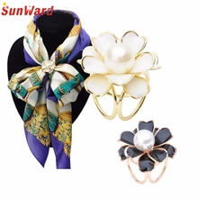 Women Lady Flower Scarf Buckle Wedding Brooch Christmas Pins for Silk Scarves Fashion Jewelry Delicate