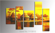 Hot Sale African Elephant Giraffe Tree Oil Painting On Canvas 5 Pcs Set Home Wall Art Decoration Modern Picture For Living Room(China)