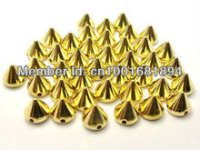 plastic spike 10mm gold 200pcs/lot  studs nailhead DIY  clothes accessories sewing glue on free shipping  HOT SELLING!!