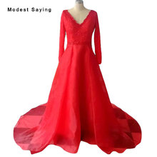 Elegant Red A-Line Beaded Lace Evening Dresses 2018 with V Neckline Formal Women Long Sleeve Party Prom Gowns vestido de festa(China)