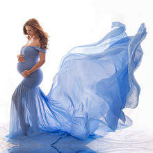 Pregnant-Dress Photo Maternity-Photography-Props Off-Shoulder Shooting Half Chiffon Cotton
