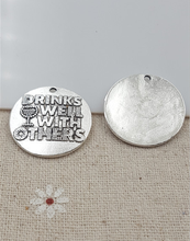 25mm DRINKS WELL WITH OTHERS message charm Antique Silver Words Charms(China)