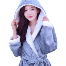 Autumn Winter Fleece Soft Bathrobe With Hood Ladies Robes Nightgown Home Clothes Warm Bath Robe Dressing Gowns For Women Men(China)