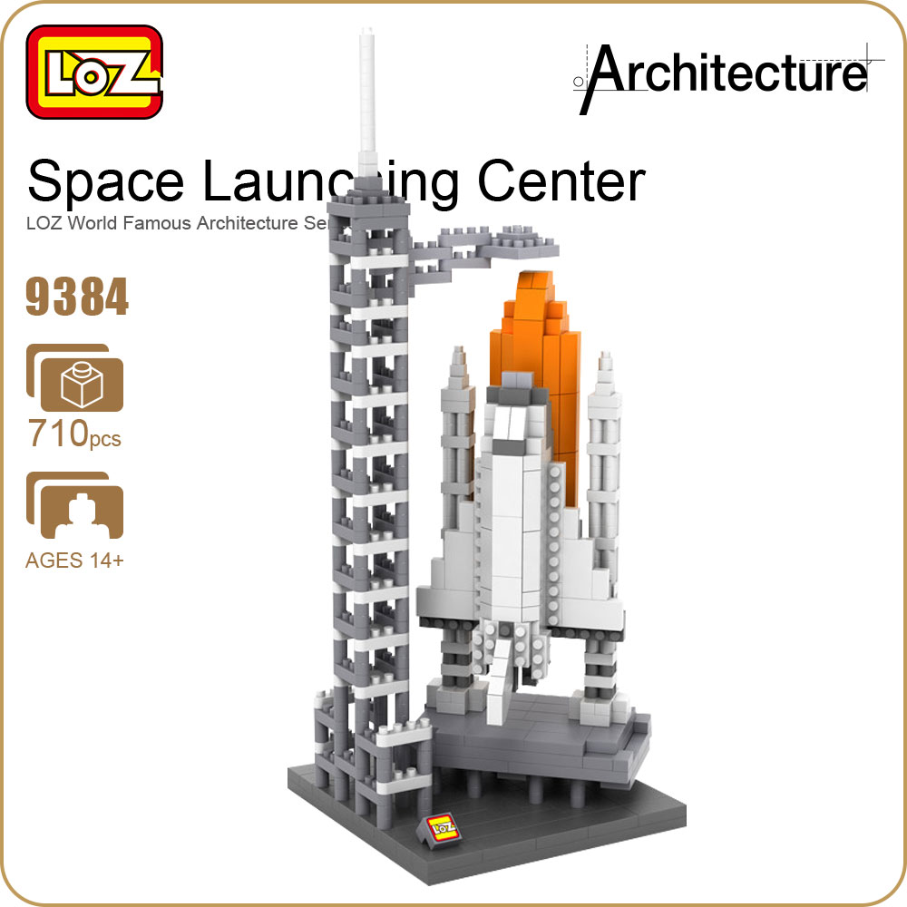 LOZ DIY Diamond Building Blocks Technic Space Launching Center Spacecraft Model Kit Space Shuttle Plastic Toys For Children 9384(China)