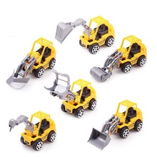 6pcs/Lot Yellow Color Toy Truck Models Mini Toys Construction Trucks For Kids Children Play Gift Toys