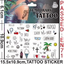 Whosale Mixed design Hawaii letters custom fashion kids girls boys Tattoo Stickers Waterproof Henna sexy children Sticker