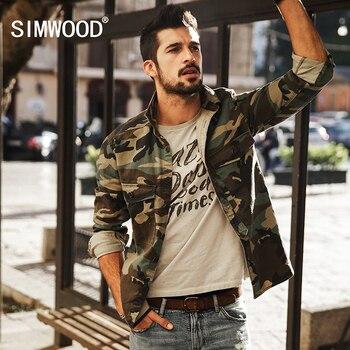 SIMWOOD 2017 Nouvelle Arrivée Printemps Casual Camouflage Chemises À Manches Longues Hommes Slim Fit CS1578