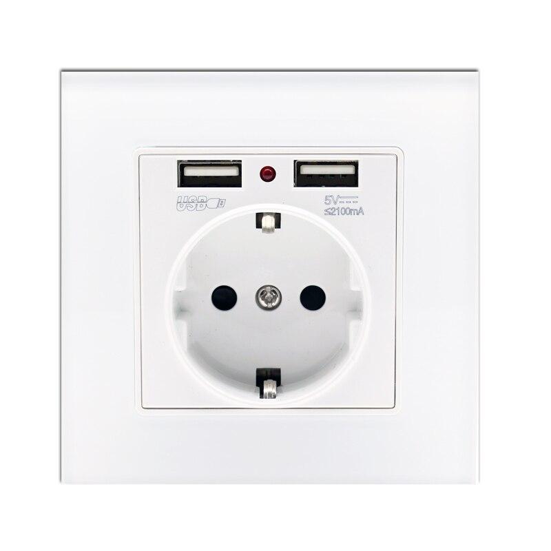 Coswall High Quality Wall Power 4 Way Socket Plug Grounded 16a Eu