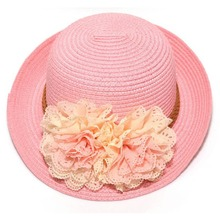 Spring Summer Children Flower Dome Straw Hat Casual Baby Girls Beach Hats Kids Sun Hats Beach Caps For 2-7 Years Babies Gift(China)