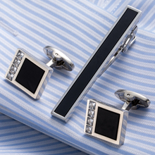 Drop Shipping Brass Necktie Set Tie Bar Cufflinks Tie Clip High Quality Onyx Cuff Links Tie Pin Men Jewelry gift 22