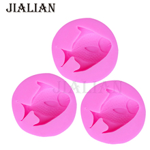 1PCS 3D Fish Silicone Mold Fondant Cake Decorating Mould Kitchen Accessories soap molds baking mold T0856(China)