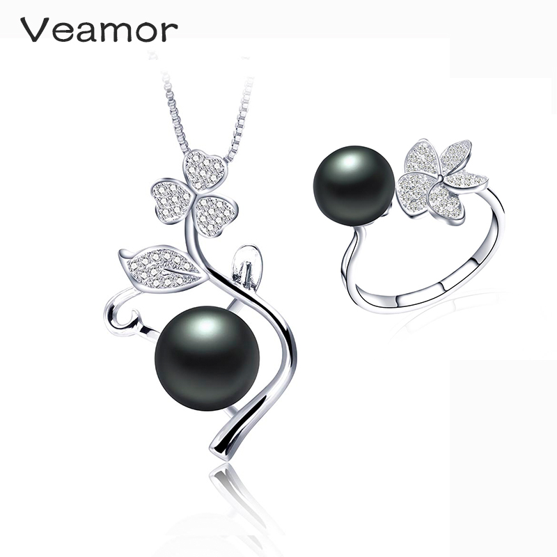 Veamor Wedding Jewelry Sets For Brides Pearl Necklace Set 925 silver Rings Costume Design Jewelry Party Gifts With Free Box(China (Mainland))