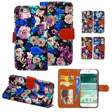 China Ink Painting Flowers Wallet Case For iPhone 7 6S Plus Flip Leather Stand Printed Magnetic Purse 2 Card Holder Phone Bag