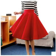 women long skirt In The Autumn And Winter Grown Place Umbrella Skirt Retro Waisted Body Skirt New Europe The Code Word Pleated(China)