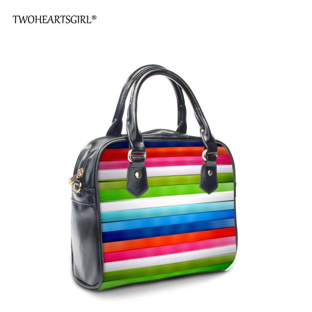 TWOHEARTSGIRL Multicolor Summer Women Handbags PU Leather Tote Shoulder Bag Ladies Striped Rainbow Purse Casual Shopping Bag<br>