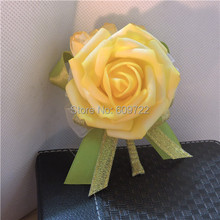 6 pcs Artificial Rose Boutonniere Wedding Church Decor Groom Corsages Buttonhole Flower Pin Yellow 6 Color FL1750