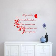 Famous Movie Quotes Mural Decals Life Is Like A Box Of Chocolates Vinyl Wall Stickers for Living Room Bedroom