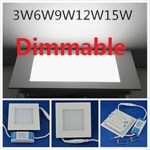 Dimmable LED Downlight 3W 4W 6W 9W 12W 15W Squre Ultrathin SMD 2835 Ceiling Panel Lights white / Warm White Free shipping
