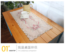 Embroidery flowers Placemats Table Runner / Slub yarn gauze beautiful coffee coasters Many Uses / Hotel Restaurant Wholesale