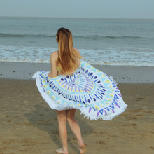 Round Sandy Microfiber Beach Towel With Tassels Carpet Sand Pad Shawl Reactive Vintage Printing Bath Towel Serviette De Plage(China)