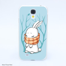 4080CA Winter Bunny Hard Transparent Case Cover for Galaxy S2 S3 S4 S5 & Mini S6 S7 & edge Plus