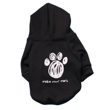 Pet Footprint Small Dog Hoodie Coat Winter Warm Jacket Sweatshirt Cat Puppy Short Sleeve Sportswear Casual Sweater Teddy Clothes