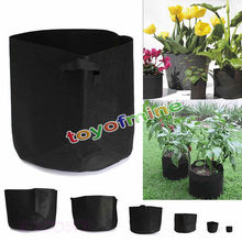 6SIZE 1-11 Gallon Round Black Fabric Pots Plant Pouch Root Container Grow Bag Aeration Container  black