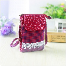 Cotton plaid floral lace children organizer wallets women coin purses small money pouches phone bags carteiras feminina for girl(China)