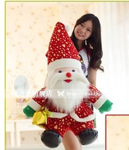 large 95cm taking gift bag Santa Claus plush toy & Xmas Tree hat Father Christmas doll ,Christmas gift i0529