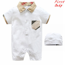 New brand design baby boys cotton short sleeve plaid rompers cute baby jumpers happy birthday gift infant overalls 0-24M 17F401
