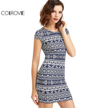 COLROVIE Tribal Print Boho Summer Dress Women Navy And White Vintage Cap Sleeve Dresses 2017 New Brief Slim Sexy Bodycon Dress(China)