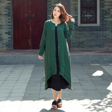 Johnature Women Cotton Linen Coats Trench Button 2017 Autumn New Long Sleeve O-Neck Sweet Casual Patchwork Fashion Trench