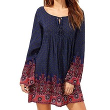 Boho Women Keyhole Lace Up Round Neck Vintage Floral Print Bell Sleeve A-Line Evening Party Short Mini Shirt Dress Vestido