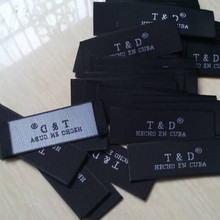 Custom private company name end fold cloth woven label Black tag 6 cm * 2 cm(China)