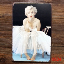 Marilyn Monroe Vintage Metal signs painting Retro tin plate iron plaque home decor wall art coffee bar 20*30cm(China)