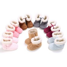Newborn Thick Fur Booties Girls Boys Super Warm Winter Baby Ankle Snow Boots Infant Baby Shoes Kids Warm Baby Shoes First Walker