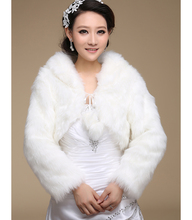 Ivory Black White Faux Fur Wrap Wedding Shrug Bolero Coat Bridal Accessories Shawl