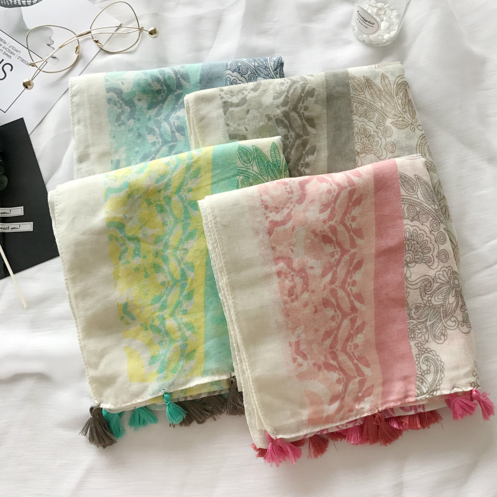 Spring spring new female scarf color cotton small fresh cashew fringed folk style long scarf shawl<br><br>Aliexpress