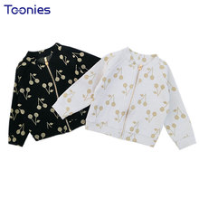 Cherry Print Boys Girls Cardigan Coats Casual Baby School Jackets Spring Autumn Children's Bottom Zipper Coat Fashion Clothes