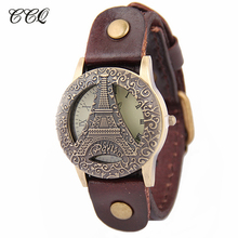 New Saat Women Chinese Watches Feamle Vintage Genuine Leather Watch Eiffel Tower Antique Men Wristwatch relogio feminino W1836(China)