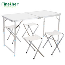 Finether Portable Adjustable Outdoor Table Ultralight Height-Aluminum Folding Table Stool Set for Dining Picnic Camping BBQ(China)