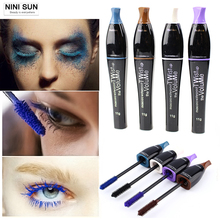 2016 New 4 Color Mascara 3d Eyes Makeup Lengthen Rimel Mascara Maquillage Blue/ Black/Brown/Purple Waterproof and Easy Remove(China)