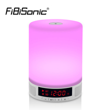 Night Lights Wireless Bluetooth Speaker Touch Sensor LED Bedside Lamp Dimmable Warm Light&Color Changing with Alarm Clock(China)