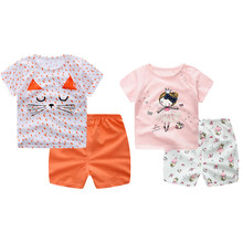 Baby Children Girls Boys Clothing Set Summer Outfit Cotton Cute Cartoon Animal Kid Costume Toddle Girls Boys Clothes(China)