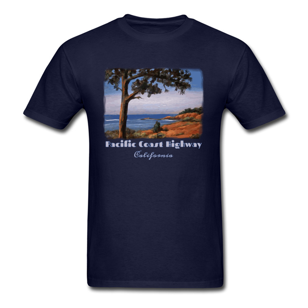 Simple Style Crewneck T Shirts Summer/Fall Tops Tees Short Sleeve Newest Cotton Fabric Printed Tshirts Casual Men Pacific Highway California Highway One Coastal Calif navy