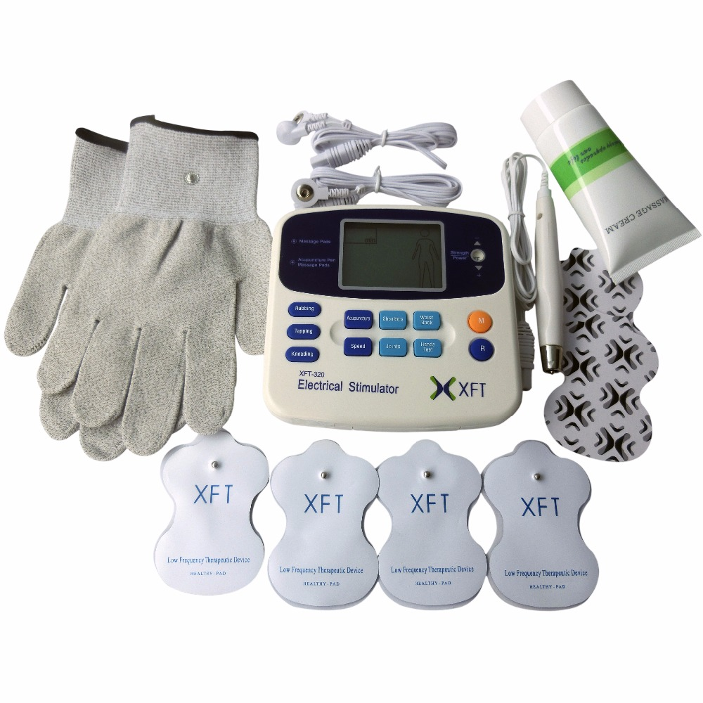 XFT-302 Dual TENS Digital Electrical Therapy Machine Body Health Care Stimulator Device+1Pair Conductive Electrode Fiber Gloves<br>